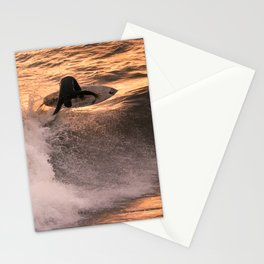 Surfer grabs air on wave at sunset Stationery Cards