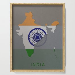 India, Outline, Map Serving Tray