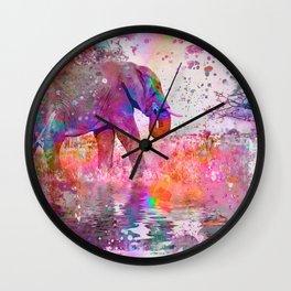 Pop Art Jungle Elephant Wall Clock