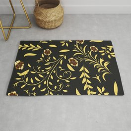 Floral pattern with flowers and leaves hohloma style  Rug