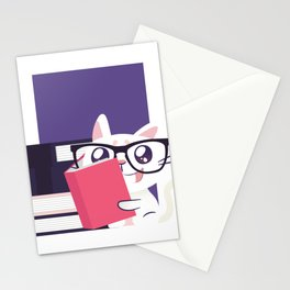 Cat Book Love Stationery Cards