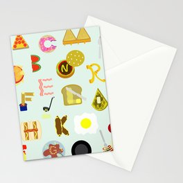Food Font Stationery Cards