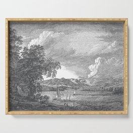 Hudson River and Catskills, Graphite and Crisp White Serving Tray