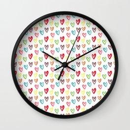 Pastel Hearts Cute Pattern Wall Clock
