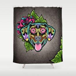 Doberman with Floppy Ears - Day of the Dead Sugar Skull Dog Shower Curtain