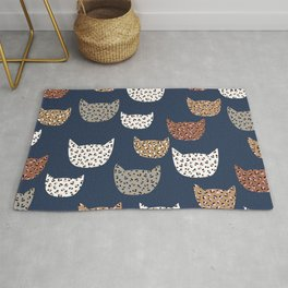Leopard Kitty Cat Blue patern Design print Rug