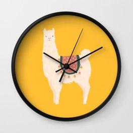 Fancy Llama - Yellow Background Wall Clock