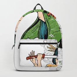 Geisha Katana and Flowers Backpack