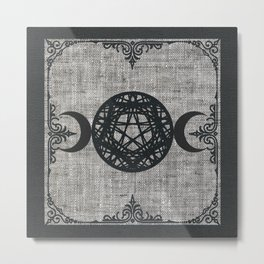 Black Magic Triple Moon Pentagram Star Metal Print