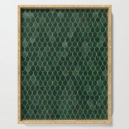 Mermaid Fin Pattern // Emerald Green Gold Glittery Scale Watercolor Bedspread Home Decor Serving Tray