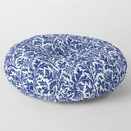 William Morris Thistle Damask, Cobalt Blue & White Floor Pillow