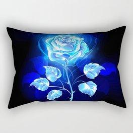 Burning Blue Rose Rectangular Pillow