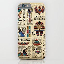 Egyptian hieroglyphs and deities on papyrus iPhone Case