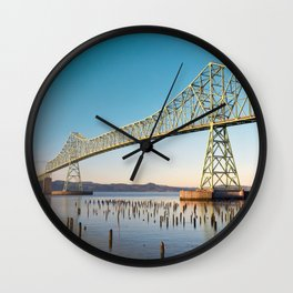 Astoria Megler Bridge Columbia River Oregon Washington River Architecture Landscape Sunset Ocean Fishing Salmon Nautical Wall Clock
