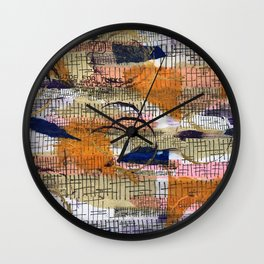 Sticks and Stones in Oranges and Blues Wall Clock