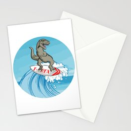 T-Rex Ocean Surfer Surfer Or Swimmer Gift Stationery Cards
