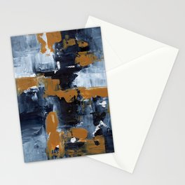 Ejaaz Haniff Abstract Acrylic Palette Knife Painting Paynes Grey White Yellow Ochre: 'Gold Rush' Stationery Cards