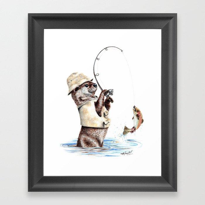 """ Natures Fisherman "" fishing river otter with trout Gerahmter Kunstdruck"