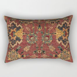 Flowery Boho Rug III // 17th Century Distressed Colorful Red Navy Blue Burlap Tan Ornate Accent Patt Rectangular Pillow