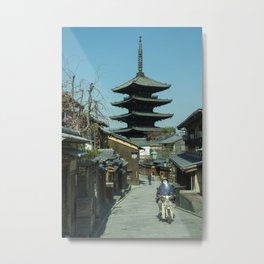Kyoto Scooter Temple  Metal Print