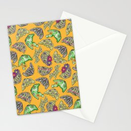 """Oro?"" Cactus with Flower Mustard Stationery Cards"