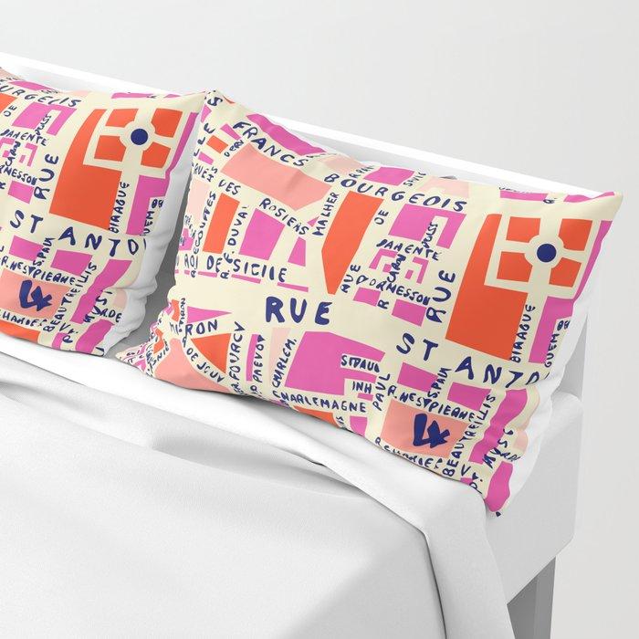 paris map pink Pillow Sham