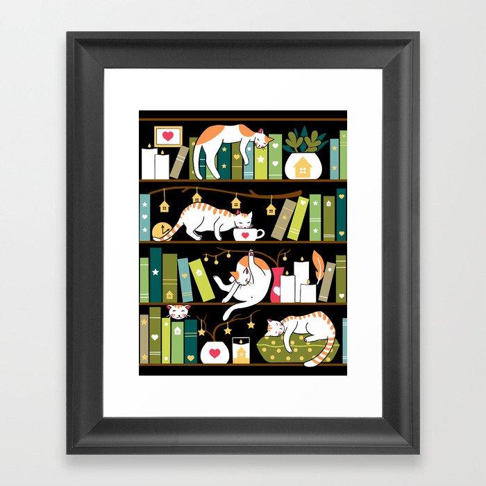 Library cats Gerahmter Kunstdruck
