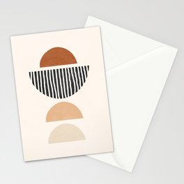 Abstract Geometric Shapes - Mid Century Boho Terracotta, Abstract Half Circles,  Earth Tones Stationery Cards