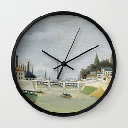 "Henri Rousseau ""Veduta del Pont de Grenelle, Trocadero"" Wall Clock"