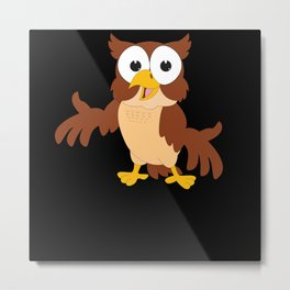 Cartoon Kids Owl Gift Motif Metal Print
