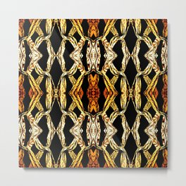 Elegant Oriental Pattern Black Gold Metal Print