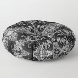Sunflowers - Mehndi Paisley Floral Abstract Art - Black White #2 Floor Pillow