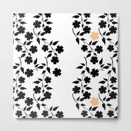 Black and Tan Floral Silhouette Metal Print