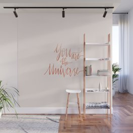 You are the Universe Handlettered Quote in Gold with Pastel Background Wall Mural