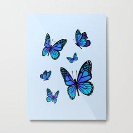 Butterfly Blues   Blue Morpho Butterflies Collage Metal Print