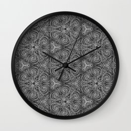 Gray Swirl Pattern Wall Clock