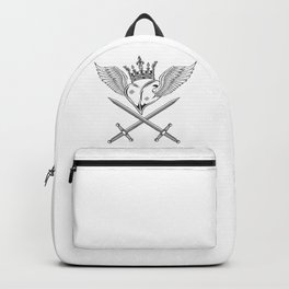 Vintage Prince Crown with Heart, Wings and Swords Monochrome Illustration Backpack