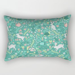 Spring Pattern of Bunnies with Turtles Rectangular Pillow