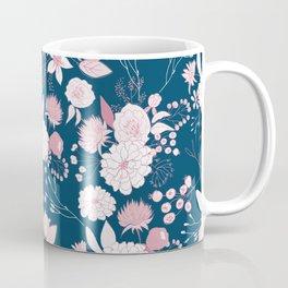 Elegant mauve pink white navy blue rustic floral Coffee Mug