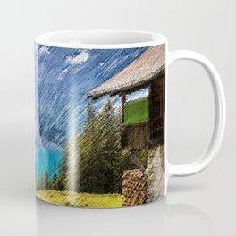 Bergsee Hut Overlooking Alpine Lake Landscape Painting by Jeanpaul Ferro Coffee Mug