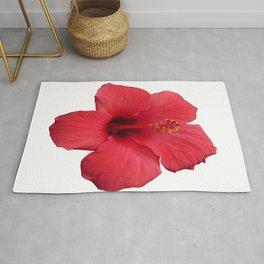 Stunning Red Hibiscus Flower Rug