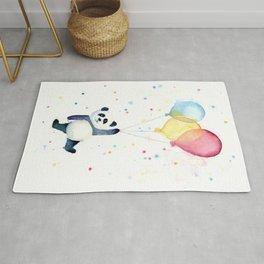 Birthday Panda Balloons Cute Animal Watercolor Rug