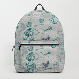 Teal Skull Pattern Backpack