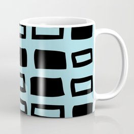 Mid Century Modern Abstract Squares Pattern 542 Black and Light Blue Coffee Mug