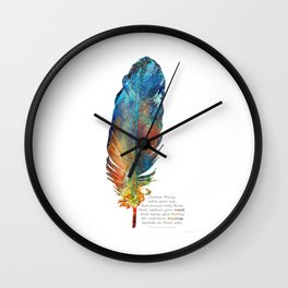 Your Heart's Blessing - Native American Colorful Feather Art - Sharon Cummings Wall Clock