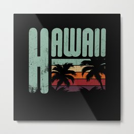 Vintage Tropical Hawaii Hawaiian Gift Idea Metal Print