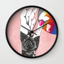 Sunrise in her hands Wall Clock