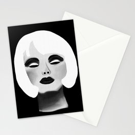 Blonde Beauty Model in Black and White Stationery Cards