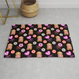 Happy little pink baby sloths, pink hearts. Sweet vintage retro lollipops. Cute nursery pattern. Rug