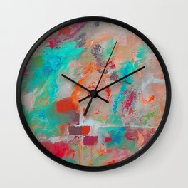 The Stone The Builders Rejected Aqua Orange Pink Wall Clock